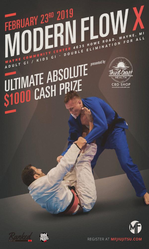 Modern Flow X Brazilian Jiu-Jitsu tournament poster detroit michigan