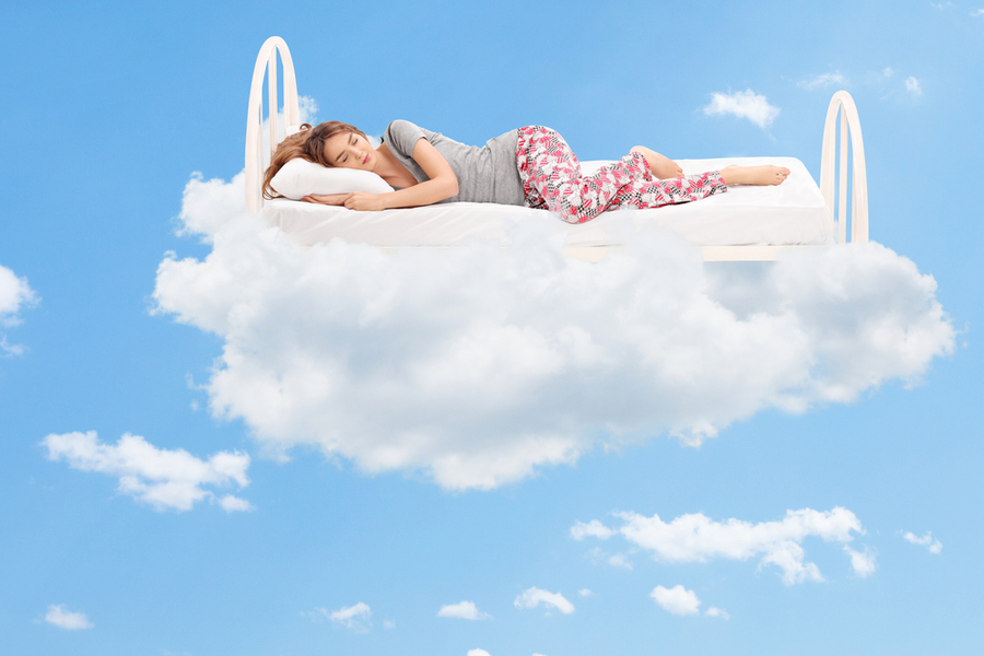woman sleeping on cloud