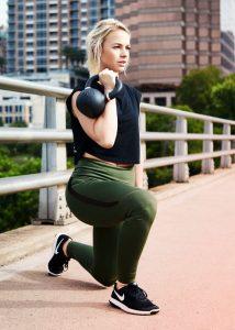 woman kettlebell workout