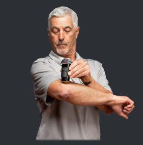 older man cbd salve arm